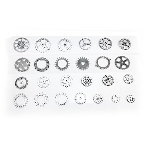 100 Gram Assorted Antique Steampunk Gears Charms Pendant Clock Watch Wheel Gear for Crafting, DIY Jewelry