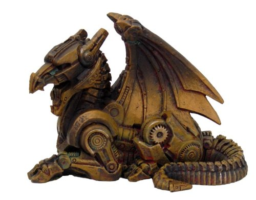 3.5 Inch Steampunk Sitting Winged Dragon Resin Statue Figurine