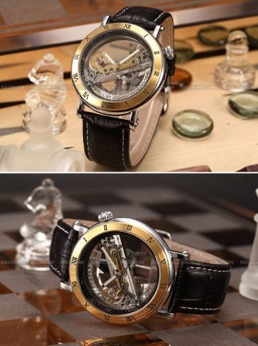 AMPM24 Gold Tone Steampunk Transparent Skeleton Mens Automatic Mechanical Sport Watch PMW167