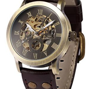 AMPM24 Men's Steampunk Bronze Skeleton Self-Winding Auto Mechanical Leather Wrist Wacth PMW198