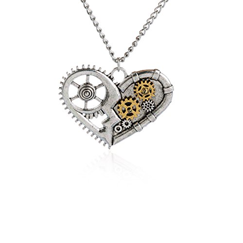 AOLO Vintage Silver Heart Pendant Necklace Gear Charm Steampunk Necklaces
