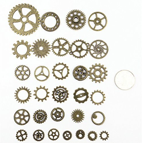 Aokbean 150 Gram Assorted Vintage Bronze Metal Steampunk Jewelry Making Charms Cog Watch Wheel