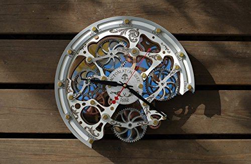 Automaton Bite White Wall Clock | Handcrafted Clocks with Steampunk, Rustic Design and Mechanical Gears | Wooden Home Decor for Kitchen, Living Room and Office | Personalized Decorative Art
