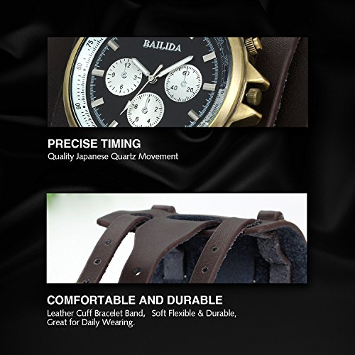 Avaner Mens Retro Hip-hop Brown 74mm Wide Leather Cuff Bracelet Sport Wrist Watch Steampunk Gothic Men Women Big Dial Analog Quartz Wrist Watch