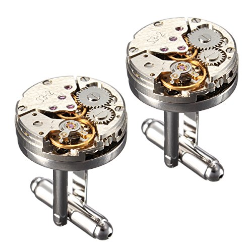 Cufflinks,Baban Deluxe Steampunk Mens Cufflinks Vintage Watch Movement Shape Cufflinks Gift for Men/Father's Day/Lover/Friends/Wedding/Anniversaries/Birthdays with A Elegant Box