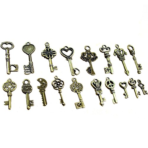 Buytra 120 Gram Antique Bronze Vintage Skeleton Keys Steampunk Gears Cogs Charms Pendant Clock Watch Wheel for Jewelry Making Supplies, Steampunk Accessories, Craft Projects (Approx 80pcs)
