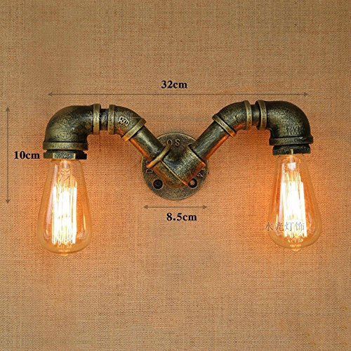 CGJDZMD Wall Sconce Vintage Industrial Retro Double Heads Water Pipe Wall Lamp Steampunk wall Light Rustic Style Hotel Lights Barn Garage Villa Bronze Lighting Luminaire, (Not Including Light Bulbs)