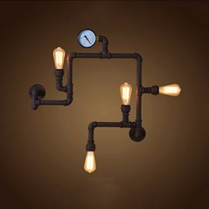 CGJDZMD Wall Sconce Vintage Steampunk Pipe Wall Light 4 Lamps Design Water Gauge Loft Style Iron Water Pipe Porch Wall Sconce Lamp