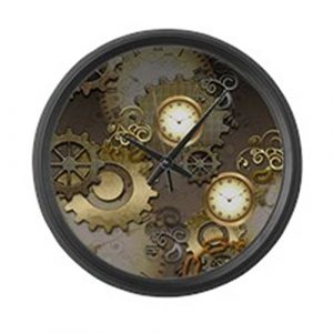 """CafePress - Steampunk, Clocks and Gears - Large 17"""" Round Wall Clock, Unique Decorative Clock"""