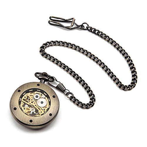 Carrie Hughes Men Vintage Golden DAD Steampunk Skeleton Mechanical Pocket Watch with Chain Daddy Grandpa Gift CHPW42 (CH374)