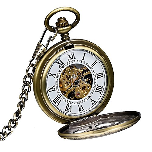 Carrie Hughes Vintage Double Hunter Steampunk Skeleton Mechanical Pocket Watch with Chain
