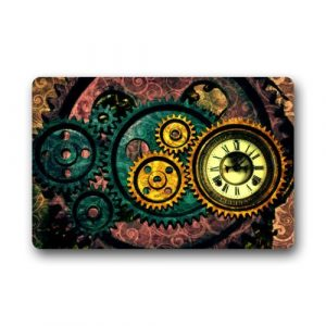 "Creative Design Steampunk Gears Home Decor Door Mats Doormat Mat 23.6""(L) x 15.7""(W) Dirt Buster"