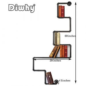 DIY Industrial Retro Wall Mount Iron Pipe Shelf Storage Shelving Bookshelf
