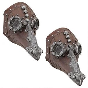 Design Toscano Doctor of Death Steampunk Plague Sculptural Mask (Set of 2), Multicolor