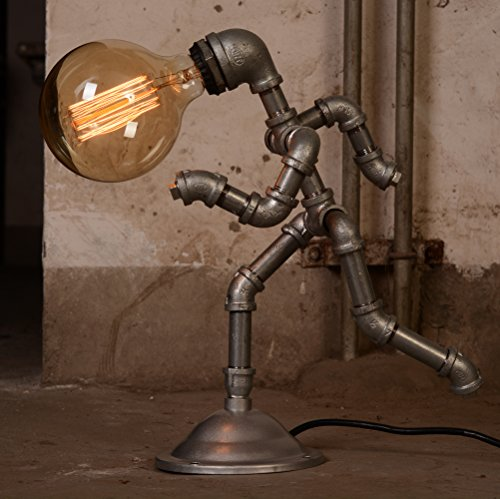 Vintage Style Running Man Rustic Water Pipe Table Lamp