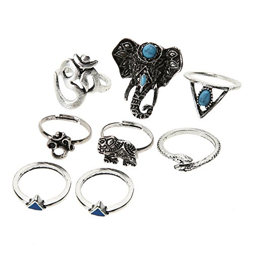 Diamondo Antique Silver Plated Vintage Bohemian Turkish Steampunk Snake Knuckle Ring