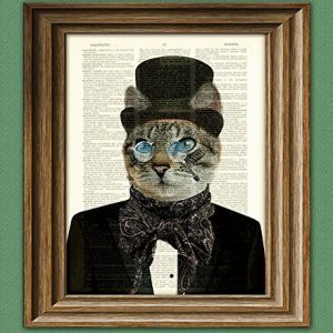 Dr. Barnabas Claw Victorian CAT gentleman with top hat bow tie scarf and nose glasses upcycled dictionary page book art print doctor