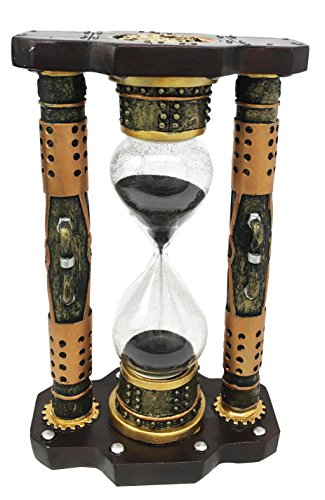 Endless Time Shifting Warp Column Steampunk Gearwork Sandtimer Black Sand Figurine Sculpture