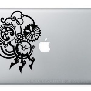 Fancy Gears 1 Steam Punk MacBook Laptop Vinyl Decal Sticker Swine Window Car Machine Time Clock Parts Car Engine Turning Vintage