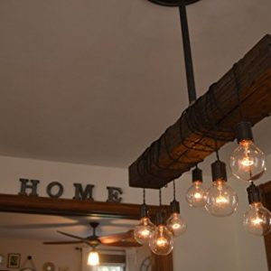 Fayette Wood Beam Chandelier - Solid Beam Downlight with 8 Lights - Farmhouse Chandelier- for Kitchen, Dining Room & Entryway - Adjustable Bulb Height - Easy Installation