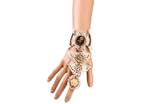 Charm.L Grace Gothic Black White Lace Bracelet Steampunk Vampire Slave Flowers Wristband Ring Wedding Accessories