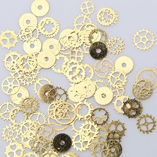 Gracefulvara 3D Nail Art Decoration Bronze Time Wheel Steam Punk Manicure