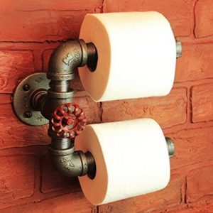 Industrial Pipe Double Roll Toilet Paper Holder, Toilet Roll Holder Industrial Farmhouse Bathroom decor, Bathroom fixture, Holds 2 rolls at once, Industrial décor