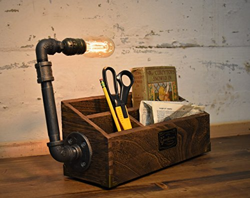 Industrial Steampunk Pipe Desk Organizer Table Lamp In Oak