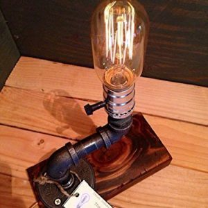 Industrial Steampunk table pipe lamp with Radio Edison bulb and Red Mahogany wood base