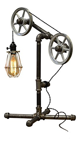 West Ninth Vintage Industrial Iron Pipe Table Lamp with Cage | Single Cage Double Pulley