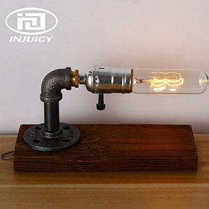 Injuicy Lighting Loft Edison Vintage Industrial Wooden Base E27 Socket Desk Accent Lamps Retro Steampunk Wrought Iron Metal Table Lamp Lights Night for Bedside Bedroom Bar Cafe Decoration
