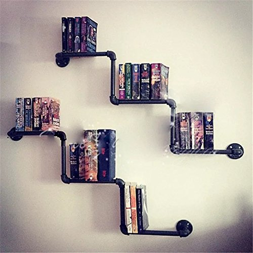 Isasar Retro Pipe Shelf DIY Industrial Wall Mount Iron Bookshelf Pipe Design Metal Tabletop Book Rack