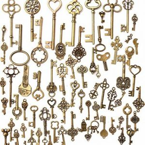 KING DO WAY 70pcs Antique Bronze Vintage Skeleton Keys Charm Set DIY Handmade Accessories Necklace Pendants Jewelry Making Supplies for Wedding Decoration and Birthday Party Favors