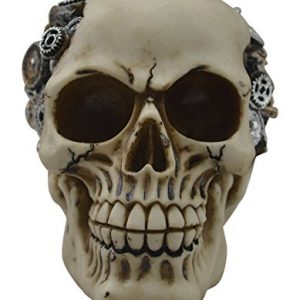 KW Collectible Gift Co.Steampunk GearHead Gear Mechanic Skull Skeleton Decorative Figurine Halloween Statue Sculpture