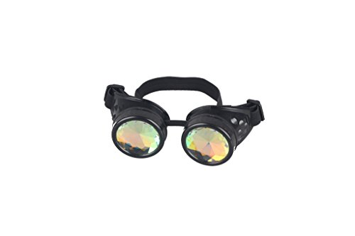 Kaleidoscope Rave Goggles Steampunk Glasses with Rainbow Crystal Glass Lens