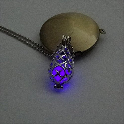 KeyZone Girls Steampunk Fairy Teardrop Glow in The Dark Necklace Jewelry