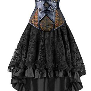 Kimring Women's 2 Pcs Vintage Gothic Victorian Brocade Overbust Corset Skirt Set