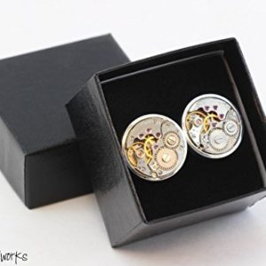 Men Steampunk Cufflinks with thick bezel - Luxury Handmade Chrome Metal Vintage Watch Movement Steampunk Cufflinks / Cuff Links Wedding Gift