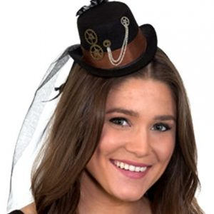 Mini Steampunk Black Top Hat on a Headband Cocktail Veil Women Costume Accessory