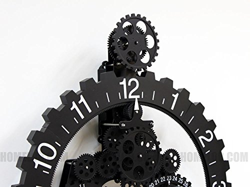 Modern Contemporary Mechanical Gear Wall Clock with Calendar Wheel (black)