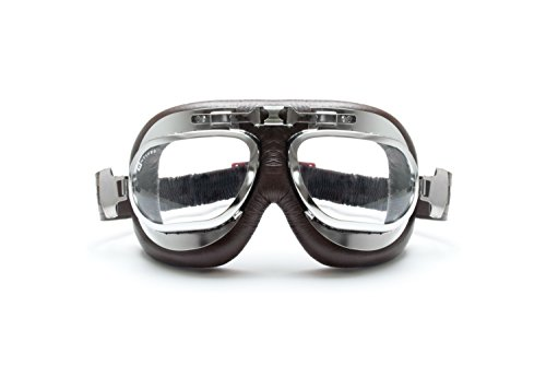 Motorcycle-Vintage-Brown-Goggles-Aviator-Style-Chrome