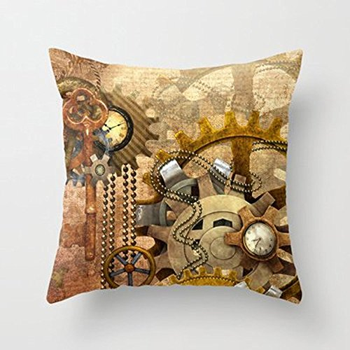 My Honey Pillow Case Steampunk Polyester Throw Pillow Cover Square 18 x 18 Inches