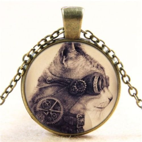 Nongkhai shop Vintage Steampunk Cat Cabochon Glass Bronze Chain Pendant Necklace