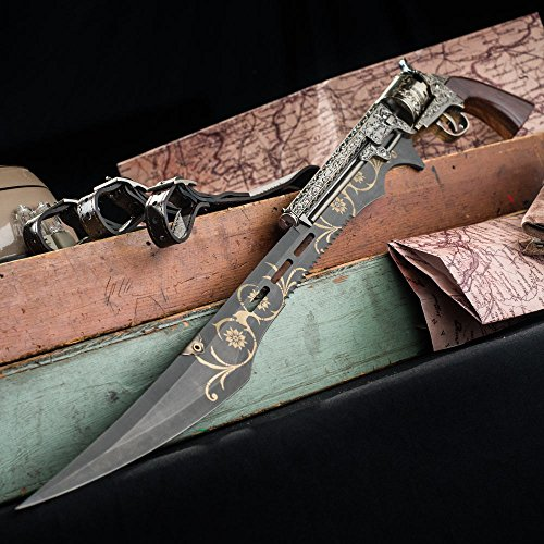 """K EXCLUSIVE Otherworld Steampunk Gun Blade Sword with Nylon Shoulder Sheath - Antique Finish, Laser-Etched and Engraved Accents, Spinning Barrel - 26"""" Length"""