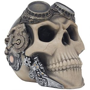 Red Baron Fighter Pilot Skull Ashtray or Candy Bowl in Steampunk Style for Spooky Halloween Decorations and Bar or Gothic Decor in Smoking Room As Decorative Macabre Art Gifts for Smokers