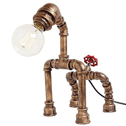 Retro Style Creative Antique Iron Embroidery Personality Empty Water Pipe Table Lamp With Red Valve Handle And Switch -Rustic Steampunk Table Lamp Voltage: 111V ~ 240V ( Color : Gold )