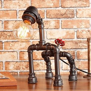 Retro Style Creative Antique Iron Embroidery Personality Empty Water Pipe Table Lamp with Red Valve Handle and Switch -Rustic Steampunk Table Lamp Voltage: 111V ~ 240V (Color : Silver Black)