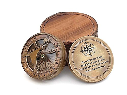 Roorkee Vintage Brass Compass with Leather Case/Henry David Thoreau Directional Magnetic Compass for Navigation/Sundial Pocket Compass for Camping, Hiking, Touring