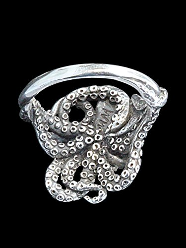 Silver Kraken Octopus Tentacle Ring Jewelry Steampunk Ocean Squid