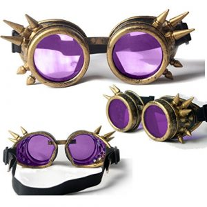 Spiked Cyber Goggles Steampunk Welding Goth Cosplay Vintage Goggles Rustic